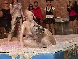 hawt and busty milf lesbians having wild wrestle