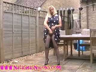 bitch milf wife in hose teasing the neighbours