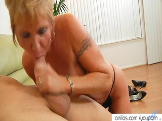 horny granny loves facual cumshots
