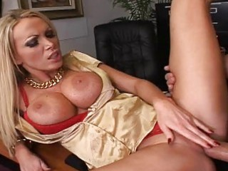 blonde milf with big boobs acquire a pecker on a
