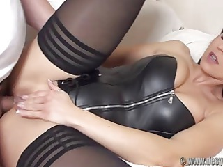 booty drilled in a black leather corset and nylons