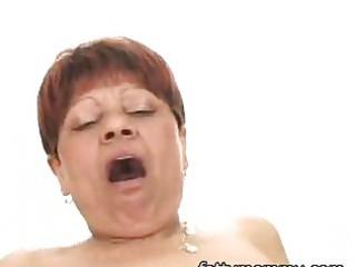 mature short hair granny in dark hose having sex