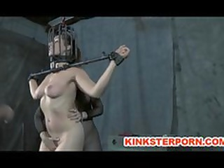 old bdsm masters whipping of chained villein
