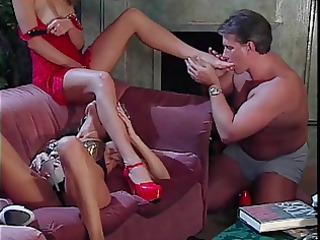 businessman licking strumpets feet