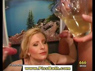 piss drinking slut acquires goldenshower in