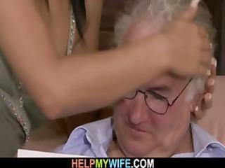 brunette hair wife is gangbanged by a stranger