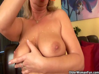 buxom granny gives her old muff a treat