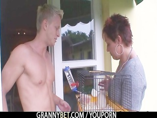 granny rides neighbours large rod