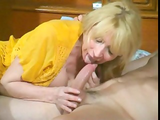 wicked older blonde bitch eats his tool and