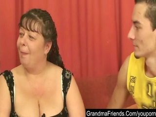 chubby aged is double fucked and cumfaced
