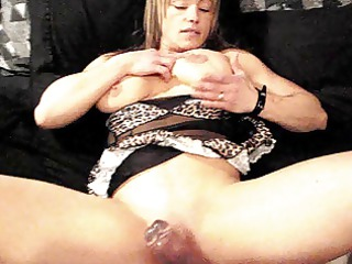 muscle chick, dildo, chubby muff