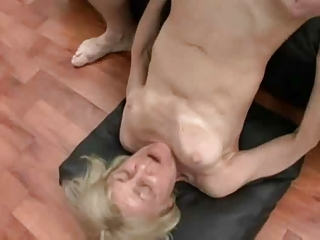 blond granny in threesome sex by snahbrandy
