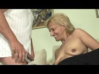 blonde older masturbates and sucks and bonks with