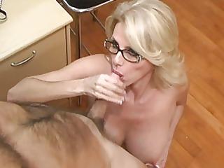 older secretary acquires cum on her large love
