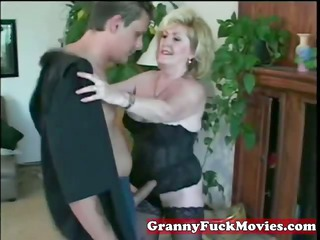 insane golden-haired granny with younger lad