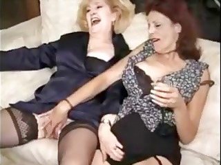 two matures in nylons enjoy a group sex