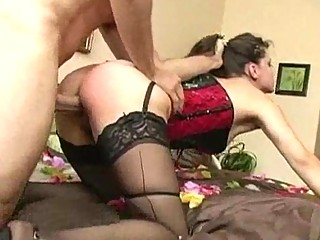 milf in corset and nylons gets ridden hardcore