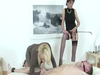 femdom bitch gives bdsm thraldom blowjob
