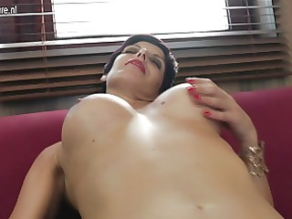 hot aged whore grinding on her bed