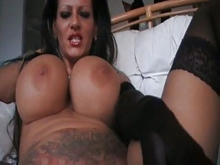 foxy mega titted milf smokin in dark underware