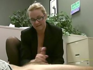 employee acquires masturbated by his excited lady