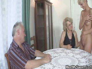 his gf and parents in sexy threesome