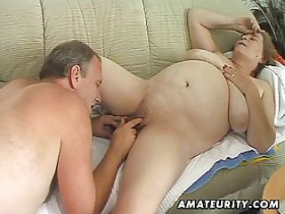 chubby aged non-professional wife sucks and bonks