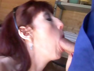 sexy french mature redhead eats and then gets her