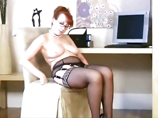 aged in stockings, lingerie and heels