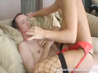 nerdy non-professional wife moves her hot red