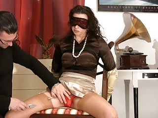 mother i in satiny nylons gets blindfolded