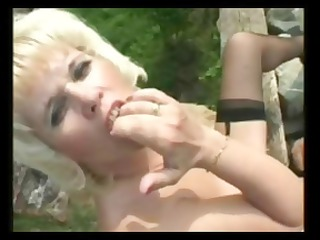 granny mother i acquires three-some sexy outdoor
