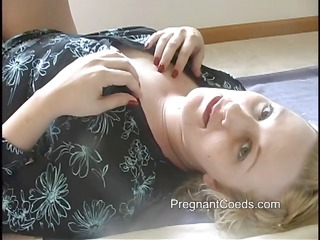 chunky golden-haired mommy has lactating tits and