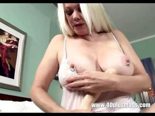 blonde excited grandma in teasing solo