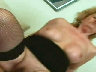 golden-haired granny engulfing and fucking a wang