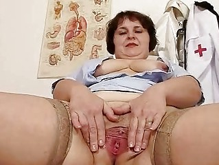 filthy bulky mamma undresses nurse uniform