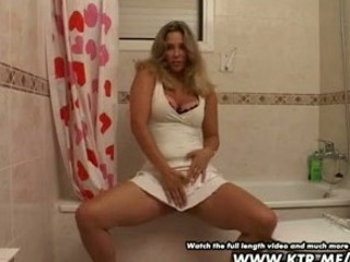 dilettante blond wife toying in washroom