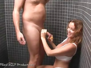 showering hubby receives joined by her wife and