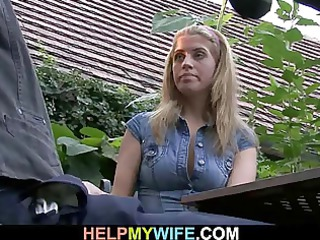 old hubby watches him bonks his hot wife