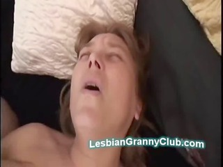 breasty aged lesbo uses large toy to fuck lewd
