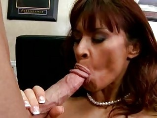 busty randy milf brunette in nylons does oral-job