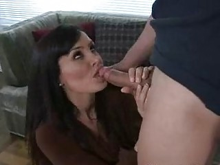 delightful brunette milf licking and sucking