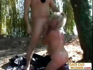 granny gets a lesson from masked stud