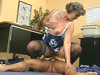 aged lady boss copulates