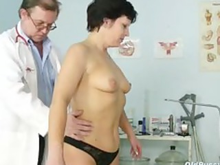 mature woman eva visits gyno doctor to receive